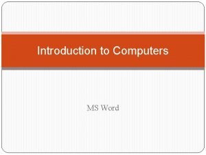 Introduction to Computers MS Word Page Formatting Page