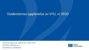 Studenternas upplevelse av VFU vt 2020 Underskningsperiod 2020