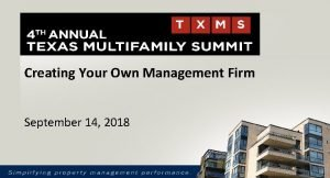 Creating Your Own Management Firm September 14 2018