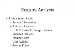 Registry Analysis Using regedit exe System Information Autostart