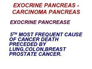EXOCRINE PANCREAS CARCINOMA PANCREAS EXOCRINE PANCREASE 5 TH