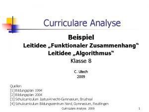 Curriculare Analyse Beispiel Leitidee Funktionaler Zusammenhang Leitidee Algorithmus
