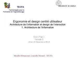TECFA Technologies pour la Formation et lApprentissage Ergonomie