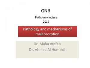 GNB Pathology lecture 2019 Pathology and mechanisms of