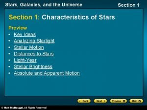 Stars Galaxies and the Universe Section 1 Characteristics