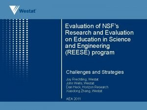 Evaluation of NSFs Research and Evaluation on Education