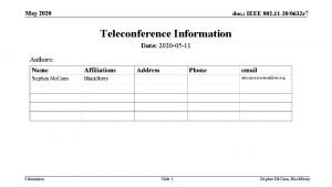 May 2020 doc IEEE 802 11 200632 r
