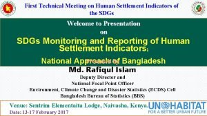 First Technical Meeting on Human Settlement Indicators of