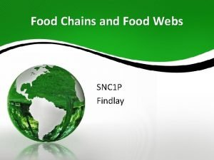 Food Chains and Food Webs SNC 1 P