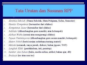 Tata Urutan dan Susunan RPP Identitas Sekolah Nama