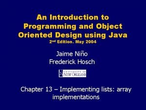 An Introduction to Programming and Object Oriented Design