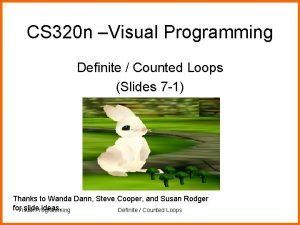 CS 320 n Visual Programming Definite Counted Loops
