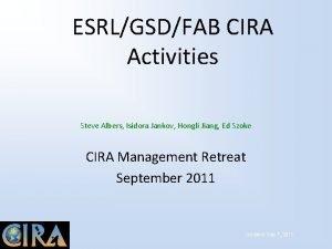 ESRLGSDFAB CIRA Activities Steve Albers Isidora Jankov Hongli