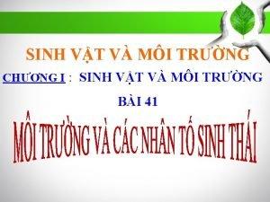 SINH VT V MI TRNG CHNG I SINH