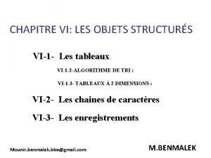 CHAPITRE VI LES OBJETS STRUCTURS VI1 Les tableaux