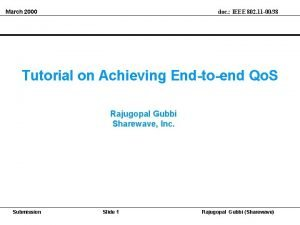 March 2000 doc IEEE 802 11 0038 Tutorial