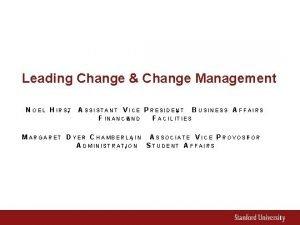 Leading Change Change Management N O E L