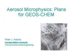 Aerosol Microphysics Plans for GEOSCHEM Peter J Adams
