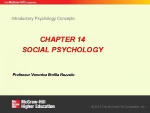 Introductory Psychology Concepts CHAPTER 14 SOCIAL PSYCHOLOGY Professor