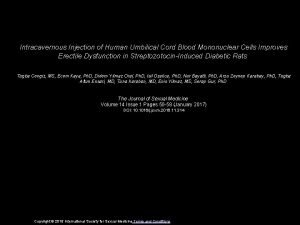Intracavernous Injection of Human Umbilical Cord Blood Mononuclear