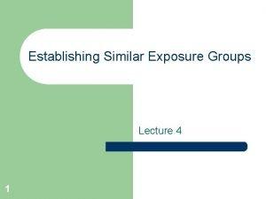 Establishing Similar Exposure Groups Lecture 4 1 Why