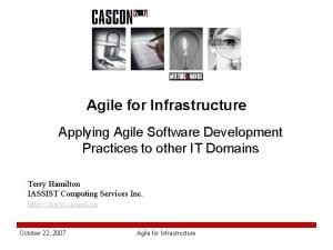 Agile for Infrastructure Applying Agile Software Development Practices