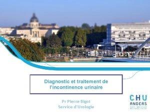 Diagnostic et traitement de lincontinence urinaire Pr Pierre