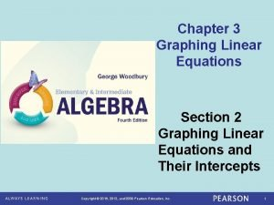 Chapter 3 Graphing Linear Equations Section 2 Graphing