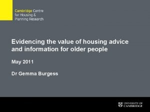 Evidencing the value of housing advice and information