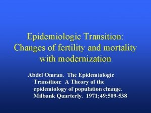 Epidemiologic Transition Changes of fertility and mortality with