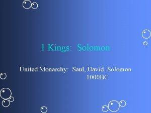 1 Kings Solomon United Monarchy Saul David Solomon
