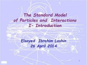 The Standard Model of Particles and Interactions I