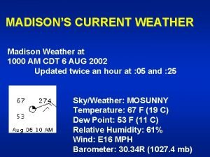 MADISONS CURRENT WEATHER Madison Weather at 1000 AM