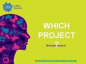 WHICH PROJECT Bronze Award www britishscienceassociation orgcrest Bronze