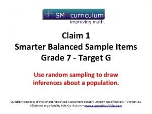 Grade 7 Claim 1 Target G Claim 1