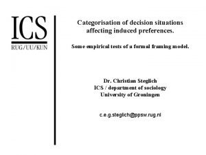 Categorisation of decision situations affecting induced preferences Some