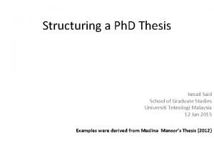 Structuring a Ph D Thesis Ismail Said School