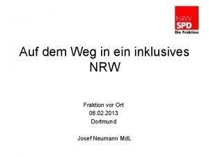 Auf dem Weg in ein inklusives NRW Fraktion