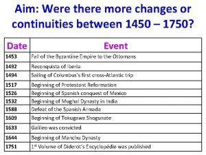 Aim Were there more changes or continuities between