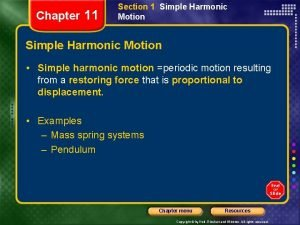 Chapter 11 Section 1 Simple Harmonic Motion Simple