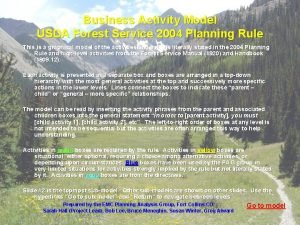 Business Activity Model USDA Forest Service 2004 Planning
