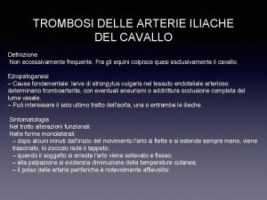 TROMBOSI DELLE ARTERIE ILIACHE DEL CAVALLO Definizione Non