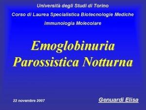 Universit degli Studi di Torino Corso di Laurea