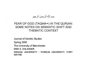 FEAR OF GOD TAQWA IN THE QURAN SOME