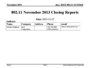 November 2013 doc IEEE 802 11 131254 r