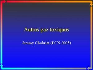 Autres gaz toxiques Jrmy Chobriat ECN 2005 HYDROGNE