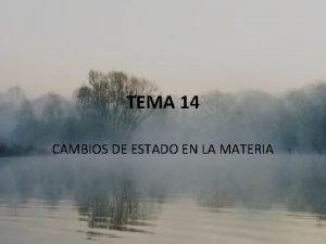 TEMA 14 CAMBIOS DE ESTADO EN LA MATERIA
