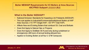 Boiler NESHAP Requirements for ICI Boilers at Area
