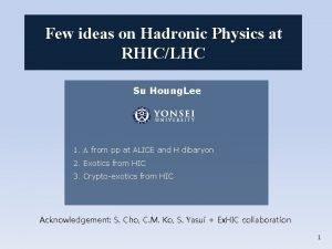 Few ideas on Hadronic Physics at RHICLHC Su