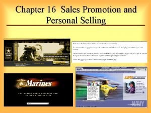Chapter 16 Sales Promotion and Personal Selling Sales